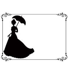 Retro woman with umbrella and frame vector image