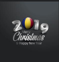 Romania flag 2019 merry christmas typography new vector