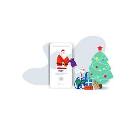 santa claus from smartphone screen giving present vector image