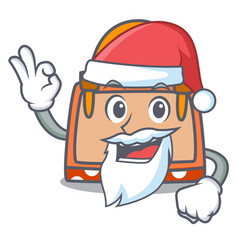 santa hand bag mascot cartoon vector image