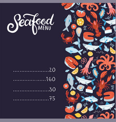 Seafood menu set colorful seafood vector