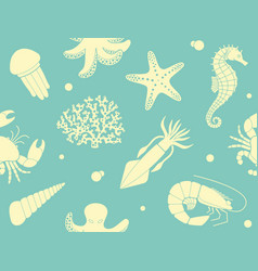Seamless background with sea life vector
