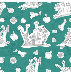 seamless pattern with merry snails sketch vector image