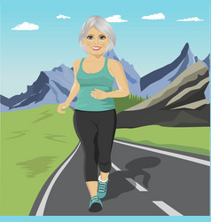 Senior woman running or sprinting on road vector