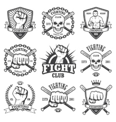 Set cool fighting club emblems vector