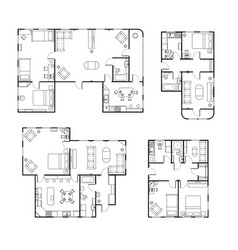 Set different black and white house floor plans vector