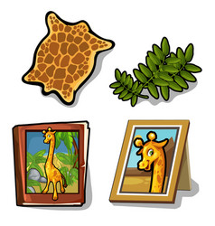 Set isolated of four item on giraffe theme vector