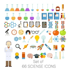 Set of 66 sciense icons vector image