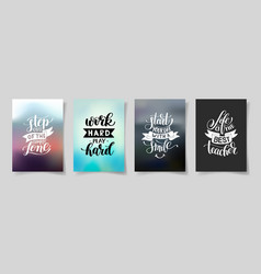 set of four hand written lettering positive vector image