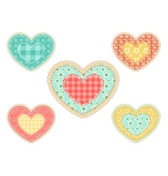 set of patchwork hearts vector image
