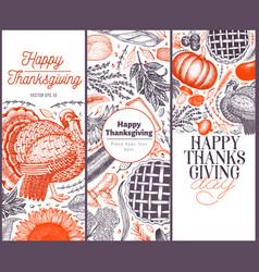 set of three happy thanksgiving day design vector image