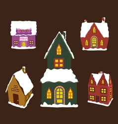 set of winter christmas house for design vector image