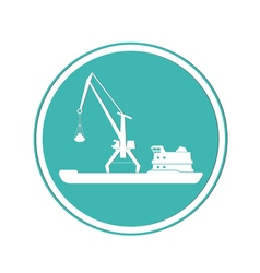 Ship and portal crane icon vector image