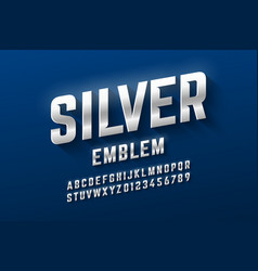 silver emblem style font metallic alphabet vector image