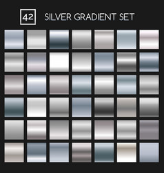 Silver metallic gradient set vector