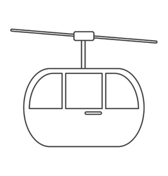 Sky cable car transport mountain thin line vector