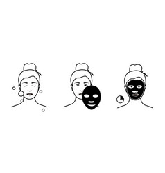 steps how to apply facial mask beauty fashion vector image