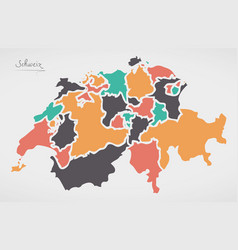 Switzerland map with states and modern round vector