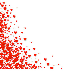valentines pattern card with red falling heart vector image