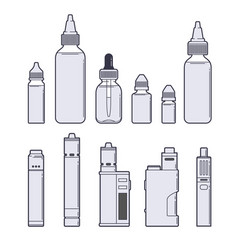 vaping set juices and devices outline on vector image