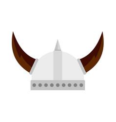 viking helmet icon flat style vector image