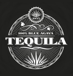Vintage tequila banner design on chalkboard vector
