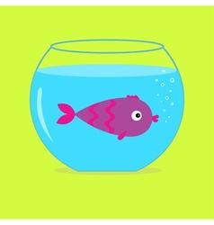Violet fish in the aquarium Card vector