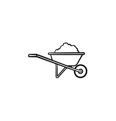 wheelbarrow full of sand hand drawn sketch icon vector image