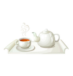 White teapot and cup tea vector