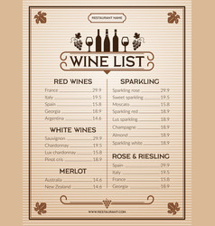 wine menu design template of restaurant or bar vector image