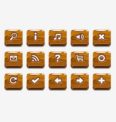 wood buttons with different menu elements vector image