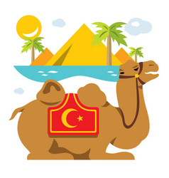 Camel and palms in the desert oasis flat vector