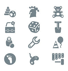 gray icon set children toys and games vector image vector image
