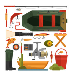 set of fishing equipment icons in flat vector image
