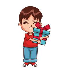 boy with gift box cartoon vector image