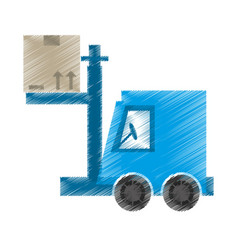 drawing delivery forklift boxes work vector image vector image