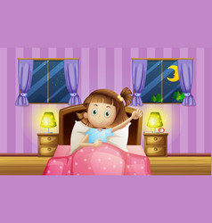 girl going to bed in bedroom vector image vector image