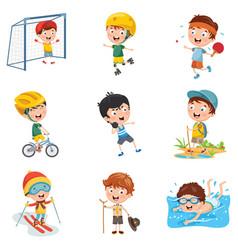 Kids making sport vector