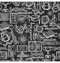 School education chalkboard seamless pattern vector image