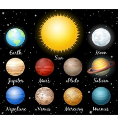 set of planets against space vector image vector image