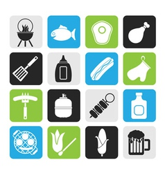 Silhouette grilling and barbecue icons vector