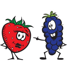 strawberry n grapes vector image