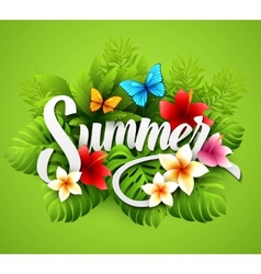 with tropical plants and vector image