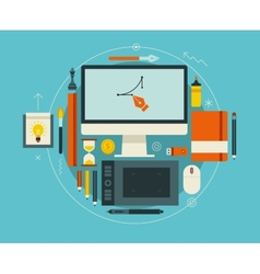 Flat design of modern creative designer workspace vector image vector image