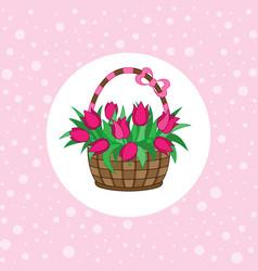gift basket with tulips vector image