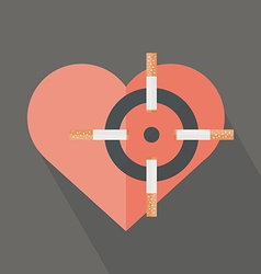 Hearth attack by cigarettes vector image vector image
