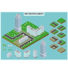 Isometric map creator elements for city building vector image vector image
