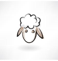 sheep head grunge icon vector image vector image