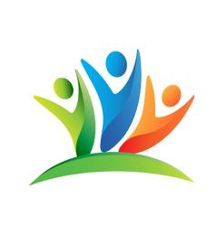 Teamwork happy people logo vector image vector image