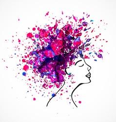 Watercolor silhouette of beautiful women vector image